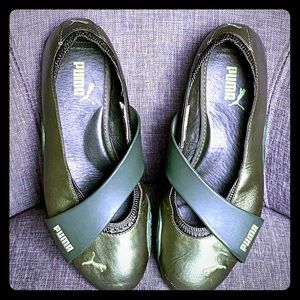 Puma Shoes - Puma slide-on metallic green leather/rubber shoes